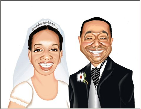 wedding sign-in board caricature
