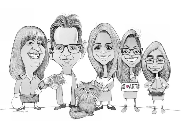family caricature from photos