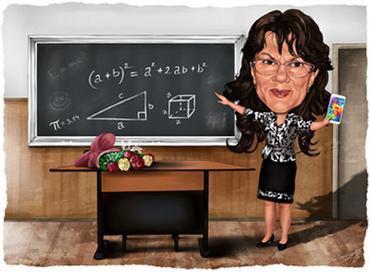 Caricature gift for a teacher (219K)