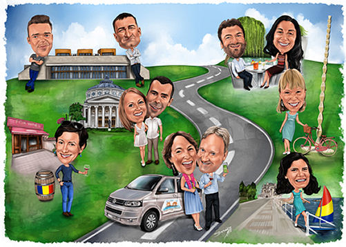 Group Caricature 11 people detailed background (329K)