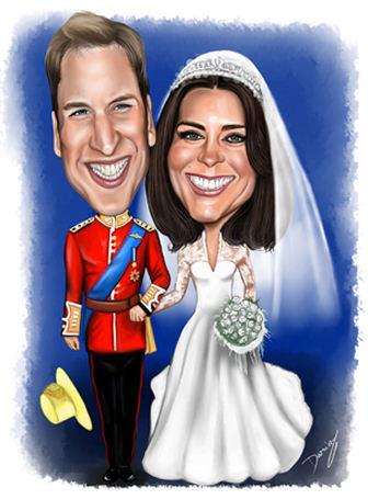 Prince William & Catherine wedding caricature
