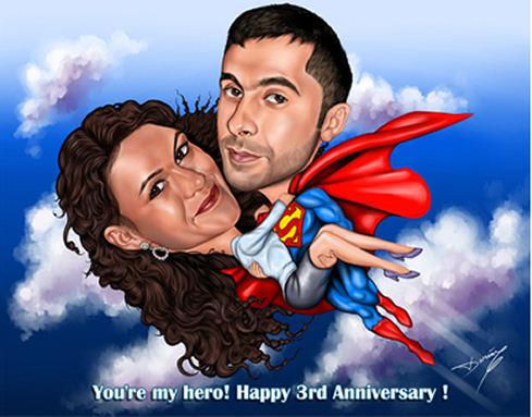 Superhero caricature 2 people