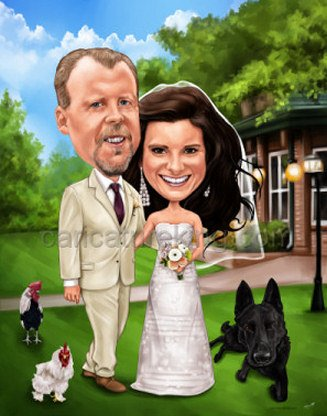 wedding couple caricature art (63K)
