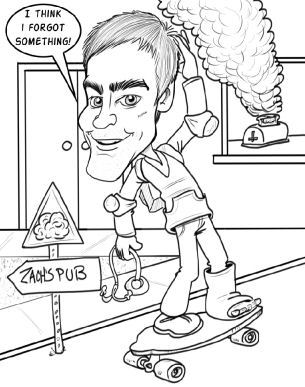 Youth riding a skateboard caricature picture