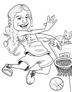 caricature of teenage girl shooting a basketball hoop