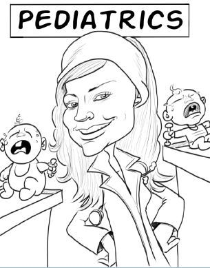 pediatric nurse with crying babies caricature
