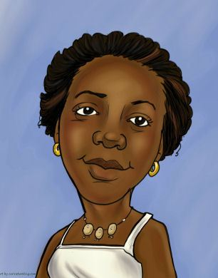 smiling black lady caricature (20K)