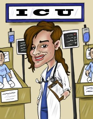 intenstive car nurse caricature in ICU