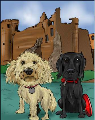 caricature of two dogs (28K)