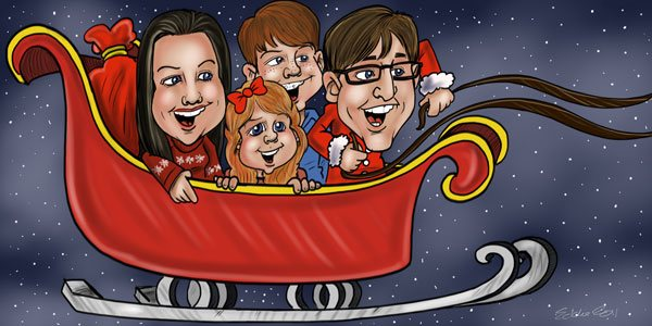 Group caricature of a family in a sleigh for greeting card