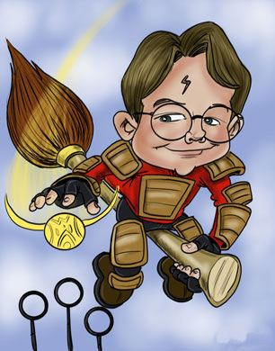 Harry-potter style caricature of a boy
