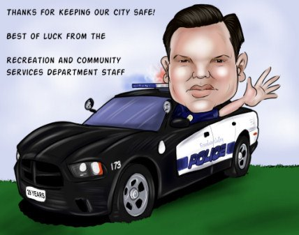 retiring police officer caricature gift