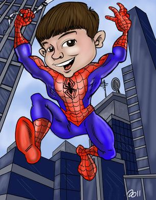 Boy spiderman caricature