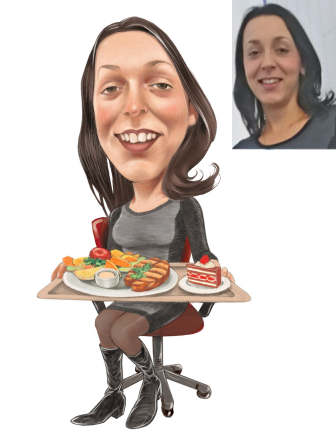 birthday lunch caricature of woman (18K)