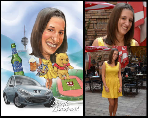 caricatured girl in yellow dress with car (38K)