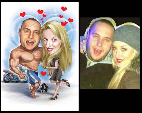caricaturization of muscle man and pretty woman (29K)