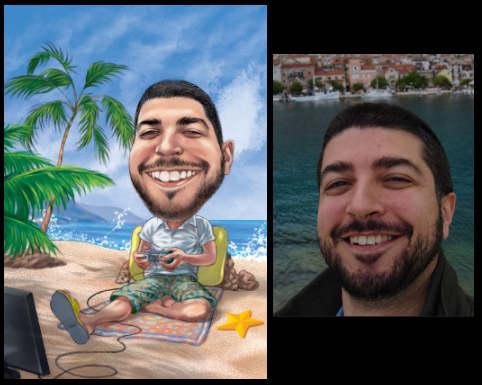 custom art gift of man on beach with a big smile (32K)