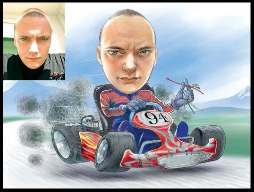 go cart racer caricature (34K)