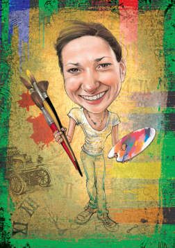 lady artist caricature (30K)