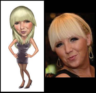 pretty blonde woman caricatured (18K)