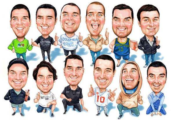 group of 12 men gift caricature
