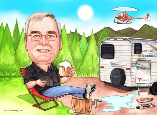 retired man with caper trailer caricature