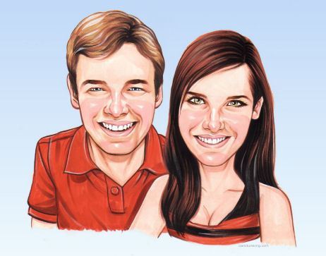 happy couple caricature