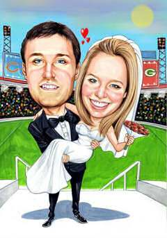 groom and bride art gift at football