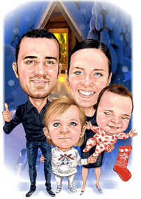 family of four greeting card art