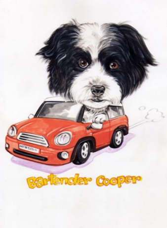 dog driving car fun cartoon