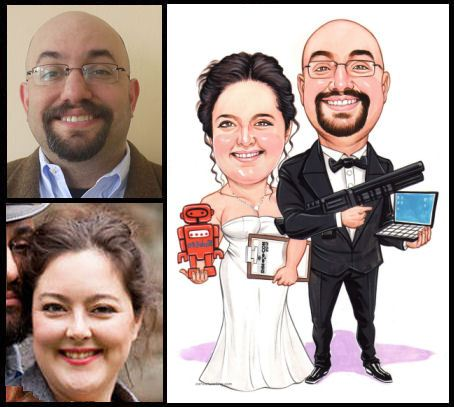 just married caricature couple