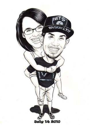 boy and girl caricature