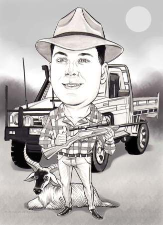 hunting man caricature