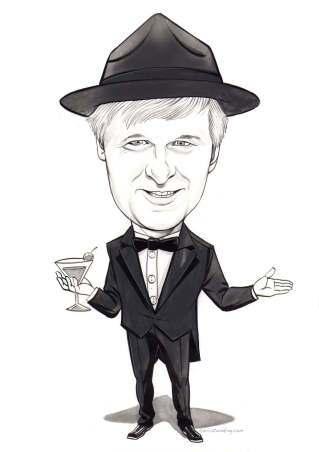 man in tuxedo caricature