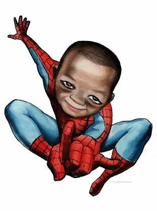 spiderman boy art characature