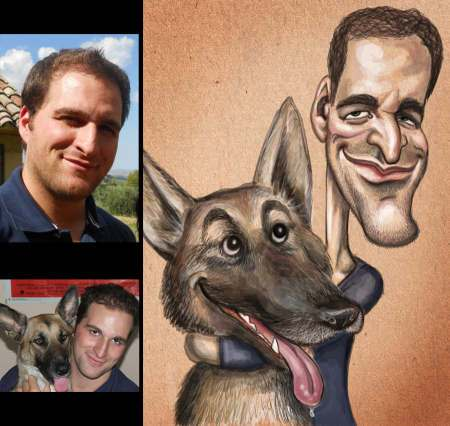 artwork picture caricature of man with dog