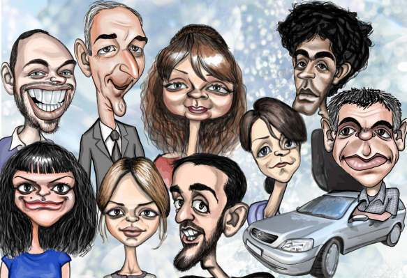 9 person head and shoulders caricature