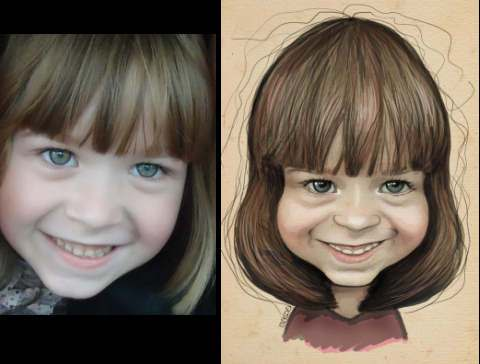 caricature of a beautiful girl