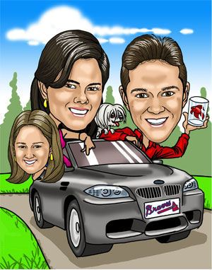 fun art of family in a car on holiday