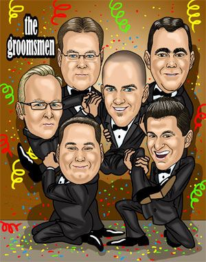 six groomsmen in a car fun art caricature