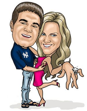 engagement couple caricature art