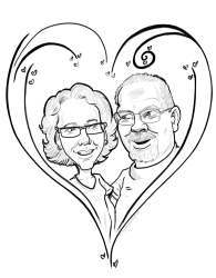 black and white drawing of older coulple in stylised love heart