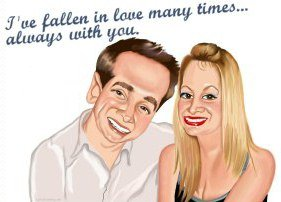 artwork of happy couple with love poem