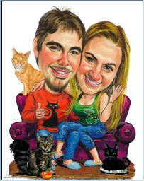 painting of happy couple on couch with cats