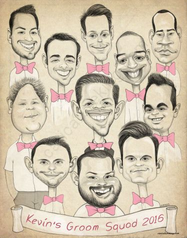 wedding groomsmen caricature art