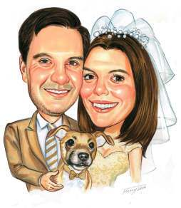 head and shoulders of wedding cuple by caricature artist