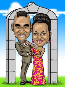 caricature of handsome wedding couple