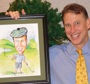 happy man with caricature golfer gift