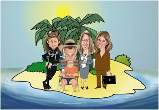 marroned on island caricature art (16K)