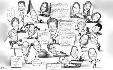 caricatured gym guys